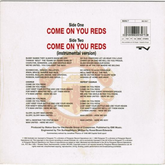 Status Quo >> Manchester United F.C.-Come on you Reds || 45football.com